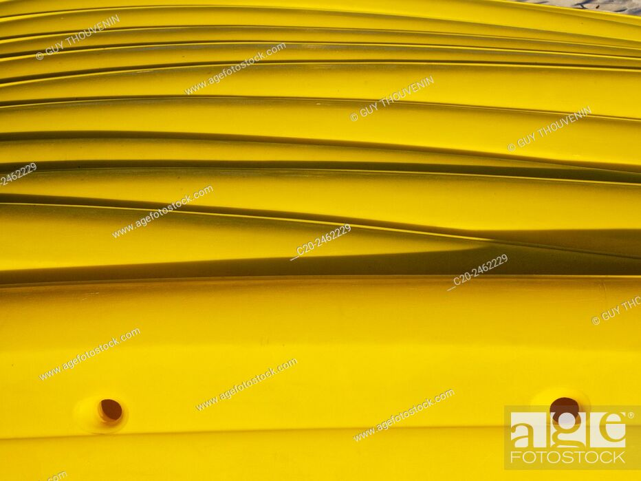 Stock Photo: Pile of yellow canoes kayaks, Harbor, France, Concept,.