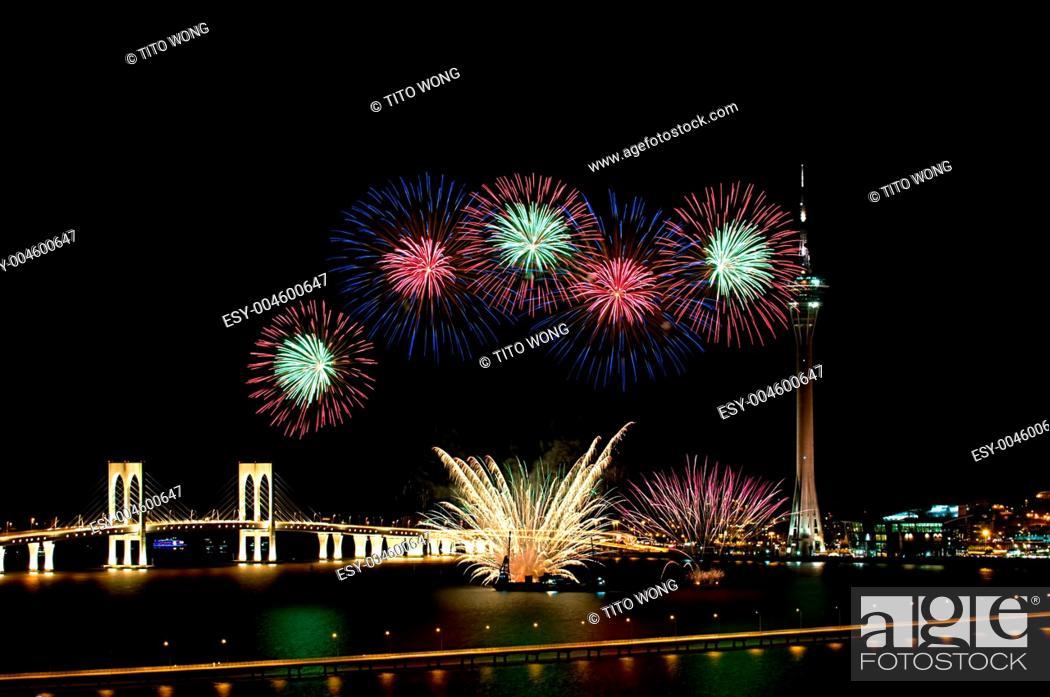Stock Photo: Macau International Fireworks Display Contest.