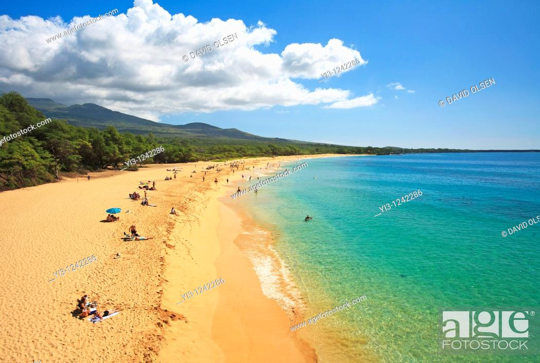 Stock Photo: Aerial view of Makena State Park, Maui, Hawaii  It is also known as Big Beach.
