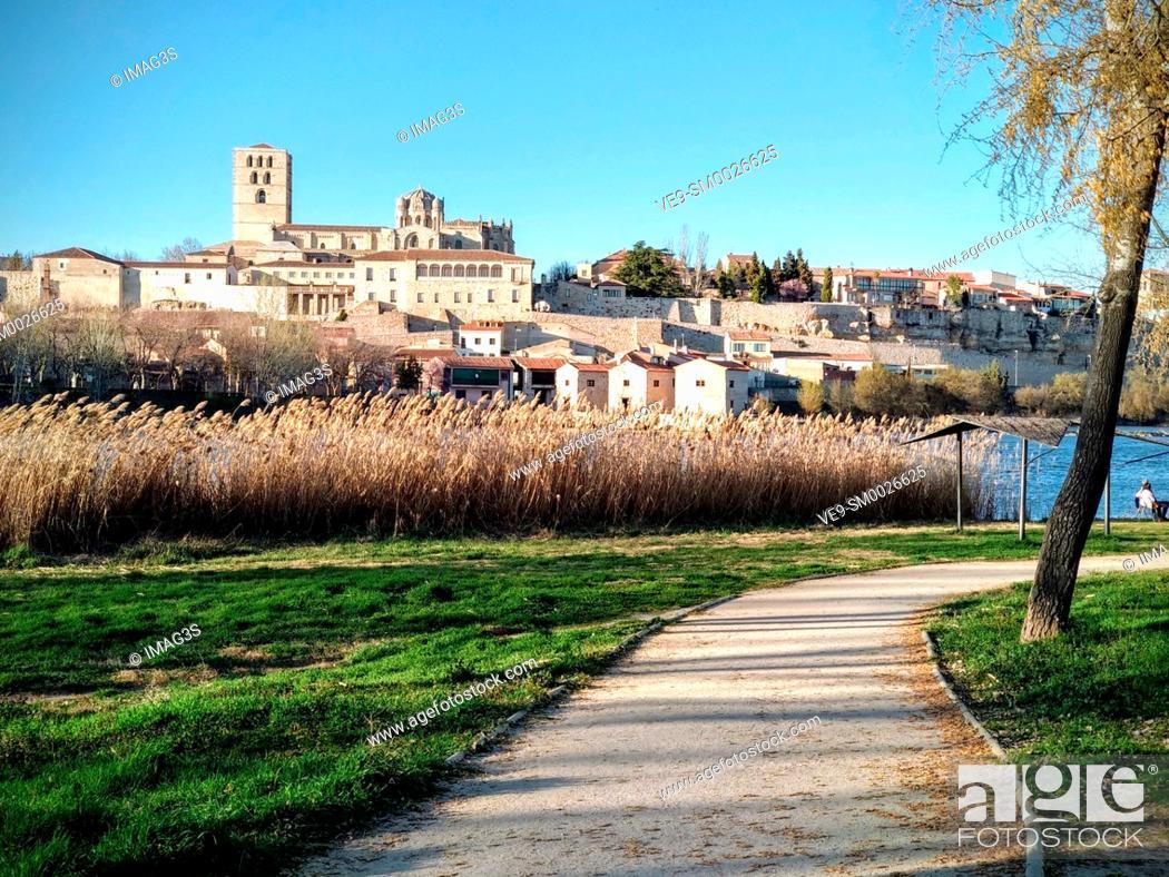 Stock Photo: Zamora town and Douro river, Spain.