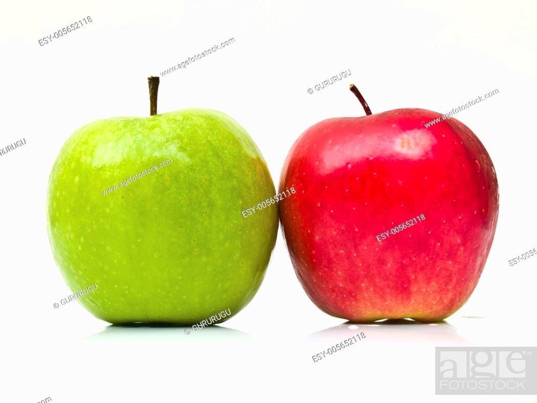 Stock Photo: Green and red apples.