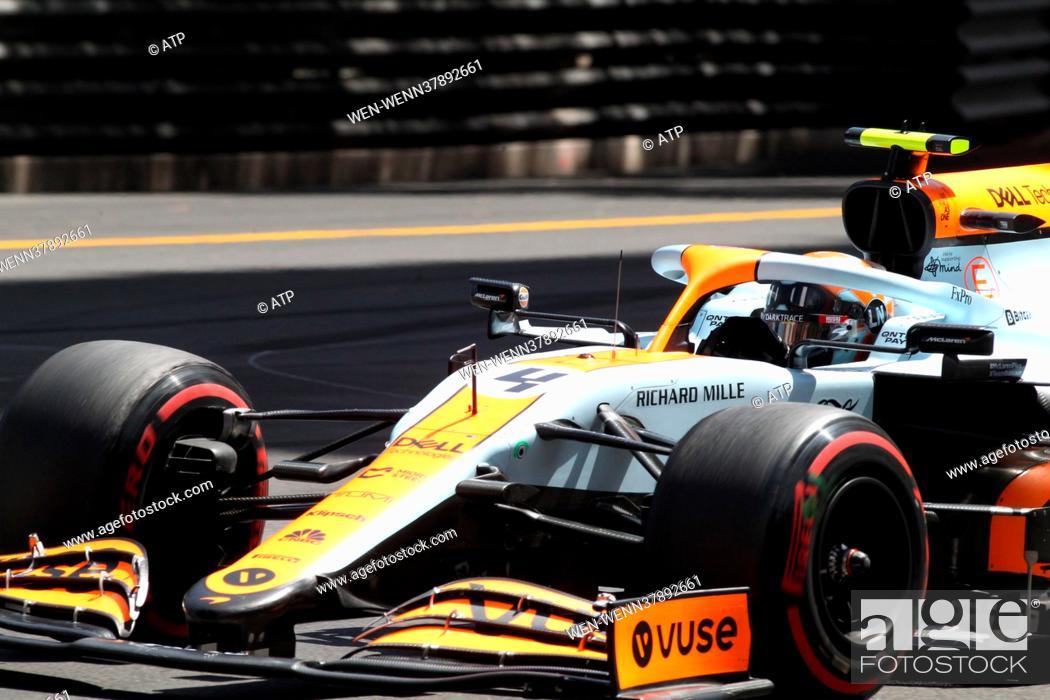 Stock Photo: MONACO, Monte-Carlo 23. May 2021: # 4, Lando NORRIS, GBR, McLaren F1 Team, MCL35M, Mercedes engine, Formula One, MONACO F1 Grand Prix - Formel 1 Grosser Preis.