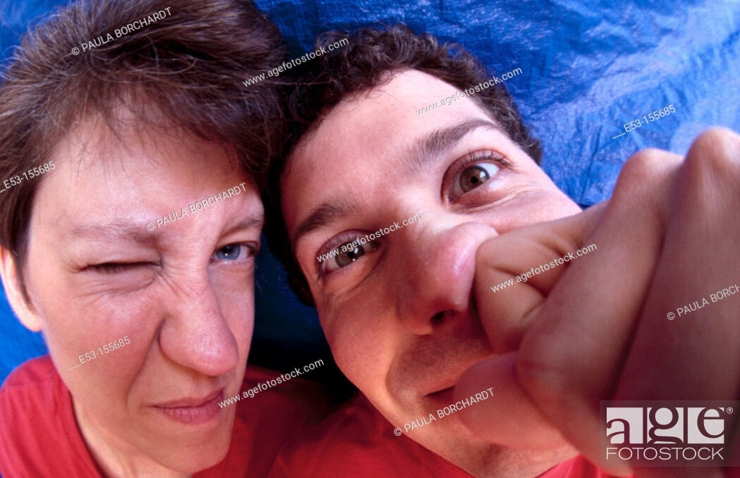 Stock Photo: Portrait of couple acting silly.