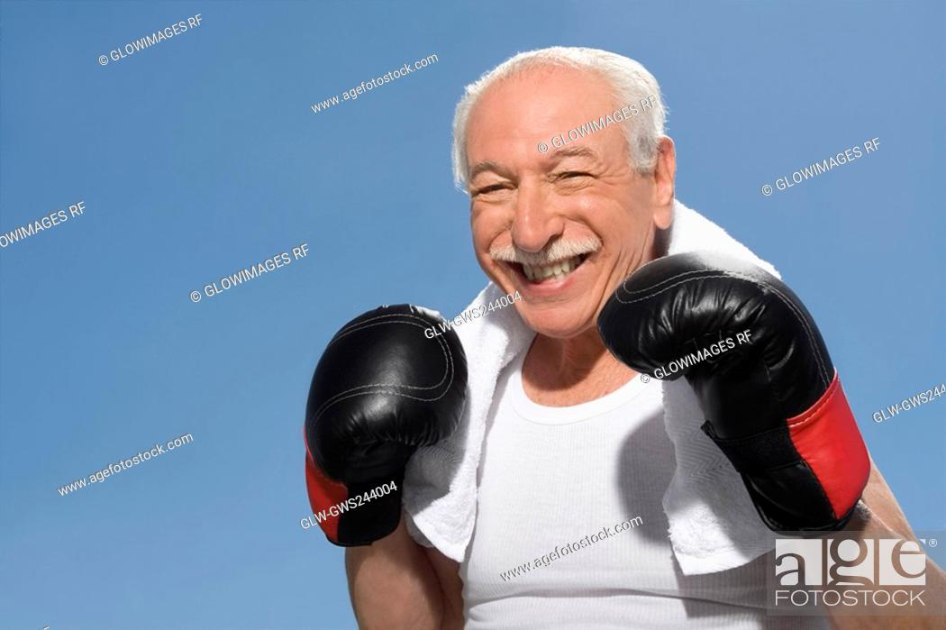 Stock Photo: Close-up of a senior man in boxing pose.