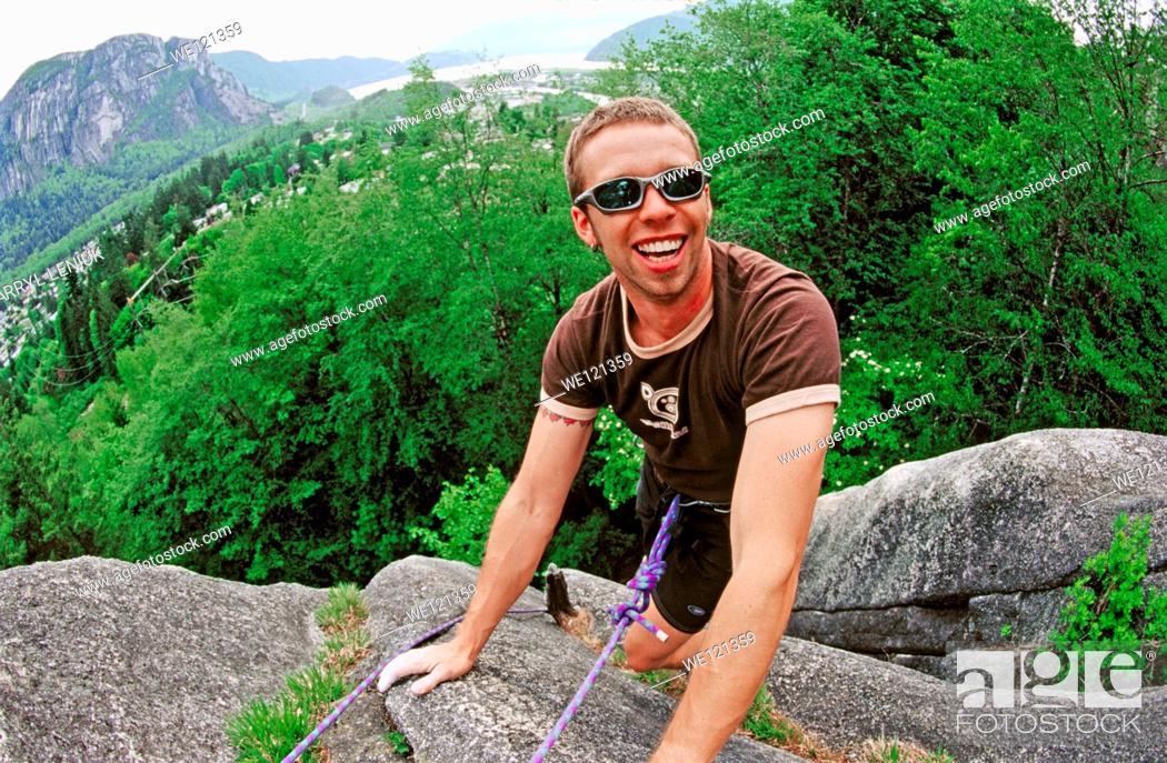 Stock Photo: Rock climber  Squamish  British Columbia  Canada.