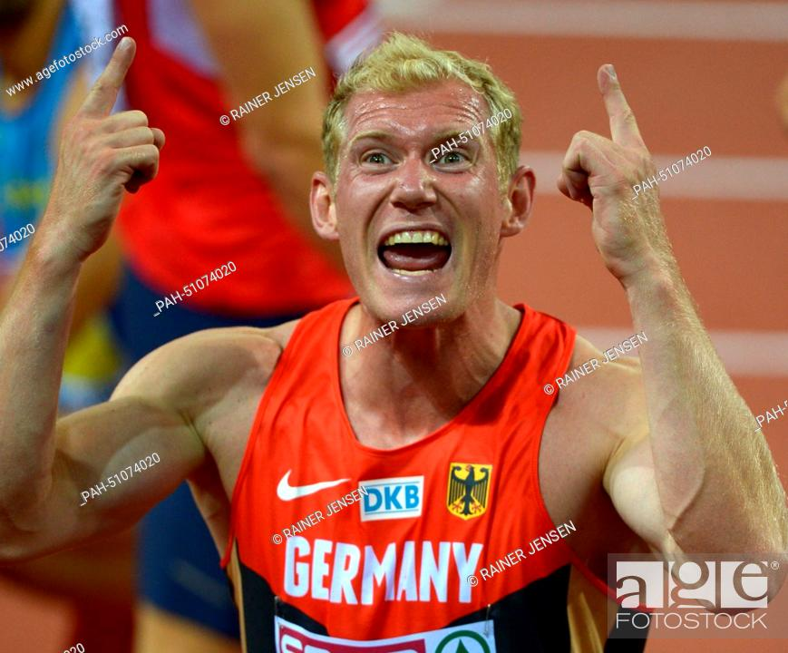 Stock Photo: Arthur Abele of Germany reacts after the 1500m event of the Decathlon competition at the European Athletics Championships 2014 at the Letzigrund stadium in.