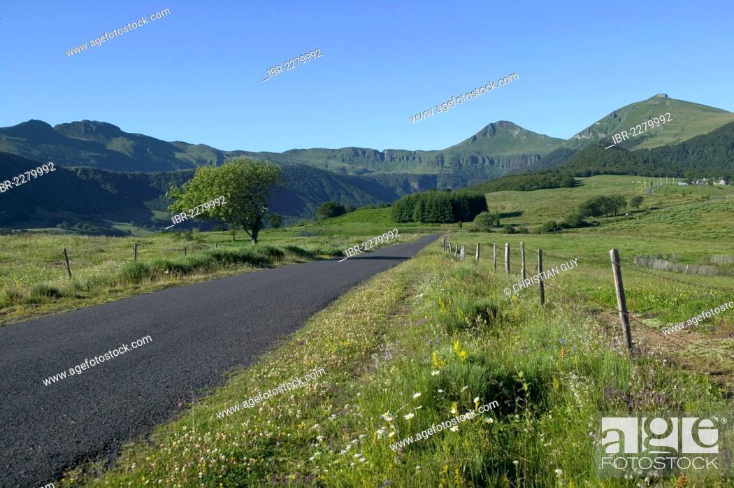 Stock Photo: Country road, Cheylade Valley, parc des volcans d'Auvergne, Parc Naturel Regional des Volcans d'Auvergne, Auvergne Volcanoes Regional Nature Park, Cantal.