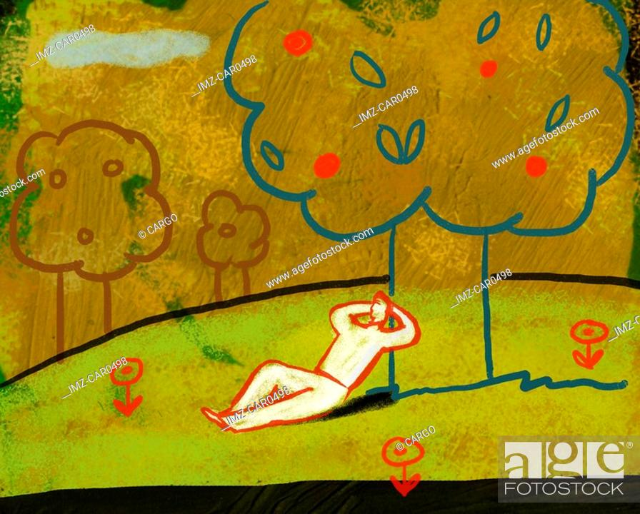 Stock Photo: Illustration of a man lying down and relaxing under a fruit tree.