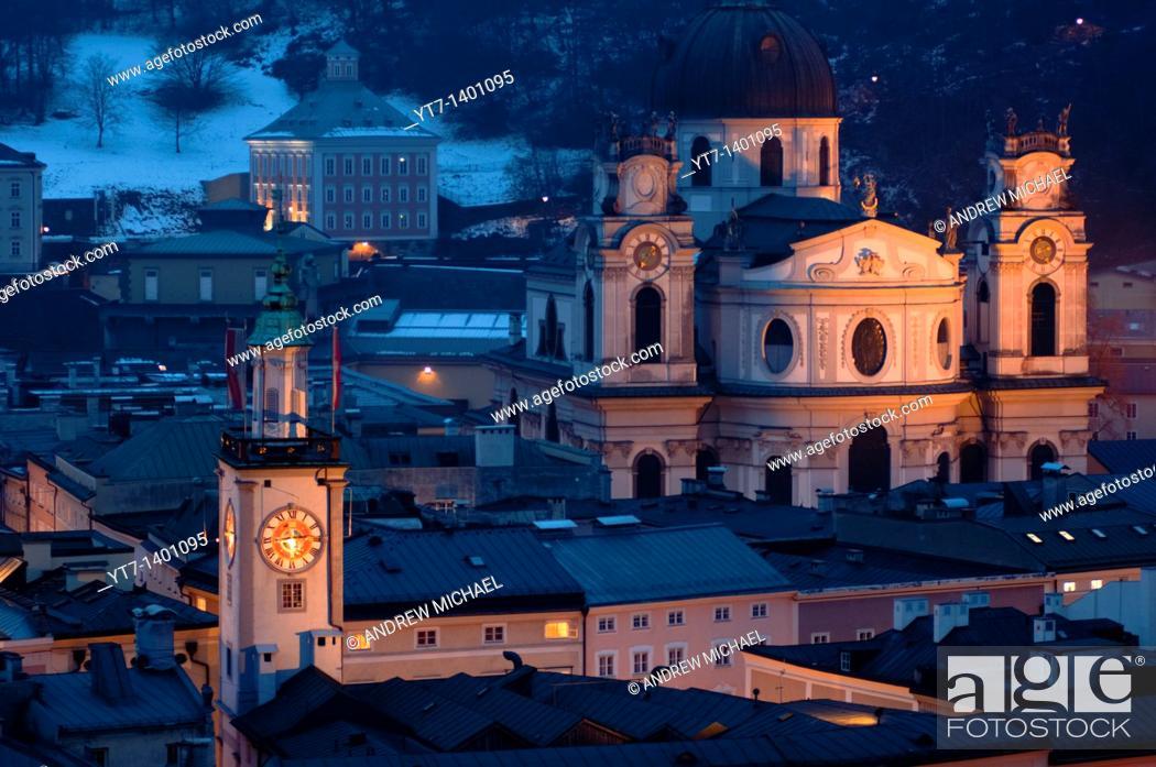 Stock Photo: Salzburg churches at dusk  Austria.