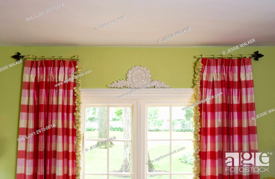 Stock Photo Window Treatments Stationary Curtain Rods Hold Pink And White Buffalo Check Curtains