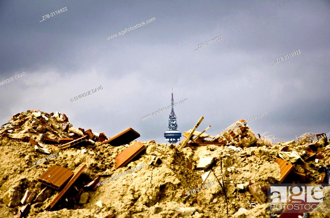 Stock Photo: A antenna view from the bottom of the earth from the cemetery of Madrid city.