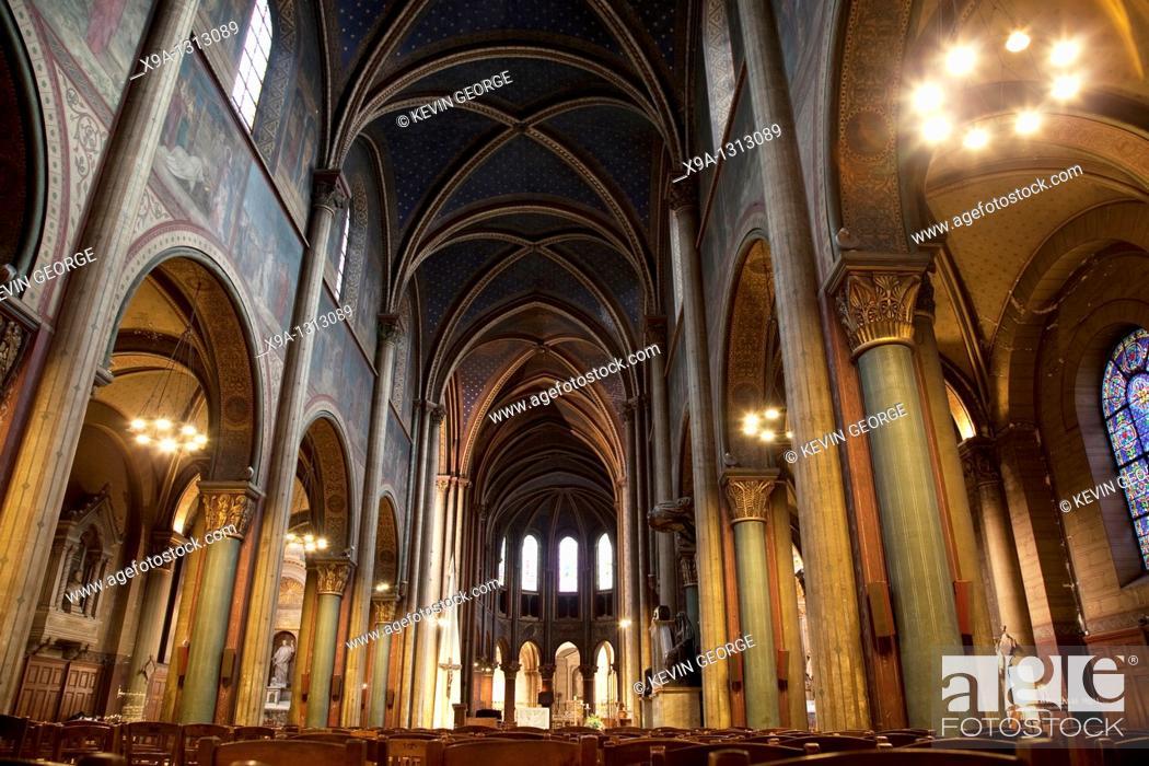 Stock Photo: Interior of St Germain des Pres Church in Paris, France.