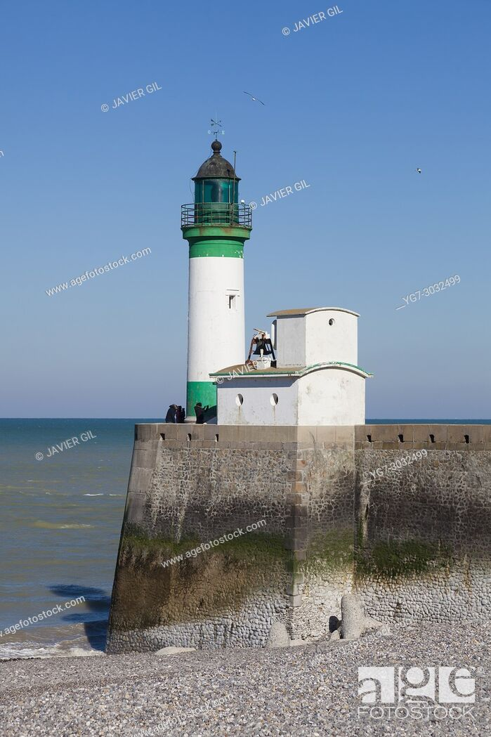 Stock Photo: Lighthouse in Le Treport, Seine-Maritime, Normandy, France.
