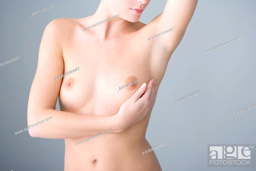 Stock Photo: BREAST SELF EXAMINATION Model.