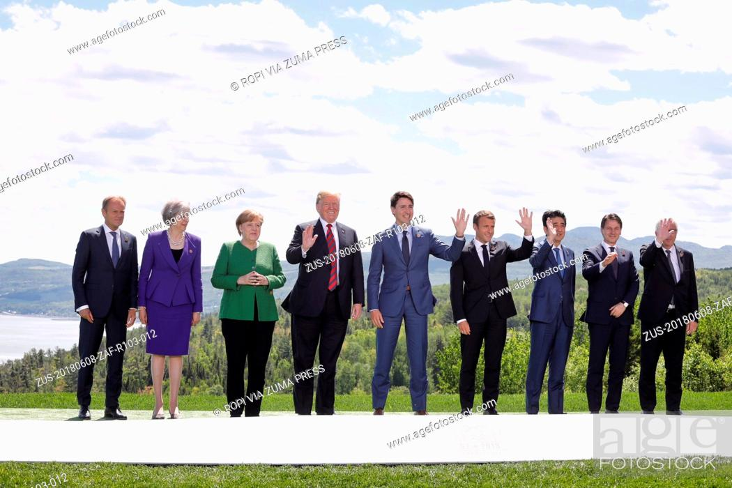 Stock Photo: Canada , Charlevoix- May 8, 2018.G7.Family photo.From left to right: Mr Donald TUSK, President of the European Council; Ms Theresa MAY.