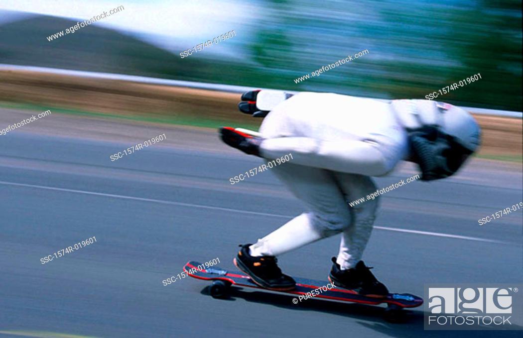 Stock Photo: Downhill speedboarding.