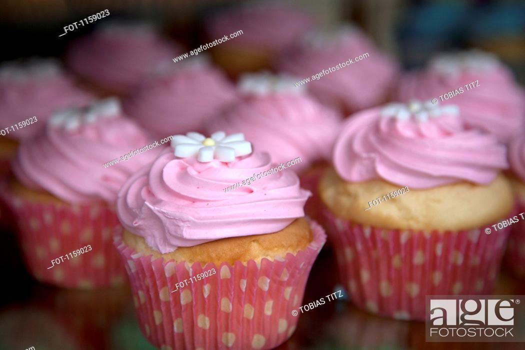 Stock Photo: Display of flower swirl cupcakes.