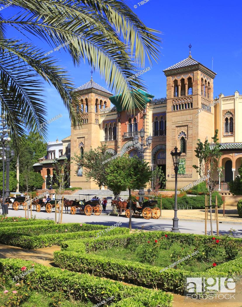 Stock Photo: Spain; Andalusia; Seville; Pabellon Mudejar, Museo Artes y Costumbres Populares,.
