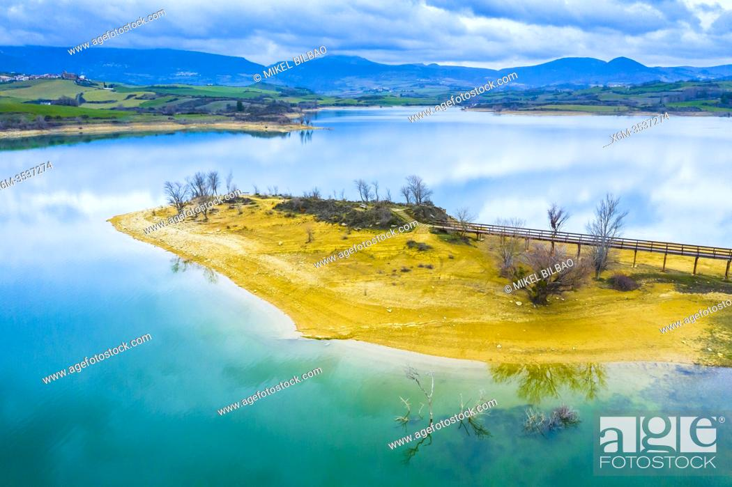 Stock Photo: Reservoir shore aerial view. Alloz reservoir. Navarre, Spain, Europe.