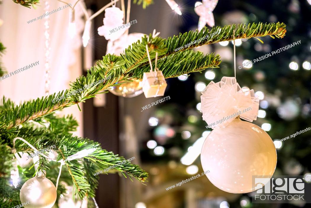 Stock Photo: Fir branch with white Christmas decoration.