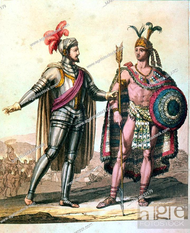 Hernan CORTES e MONTEZUMA II durante il soggiorno del ...