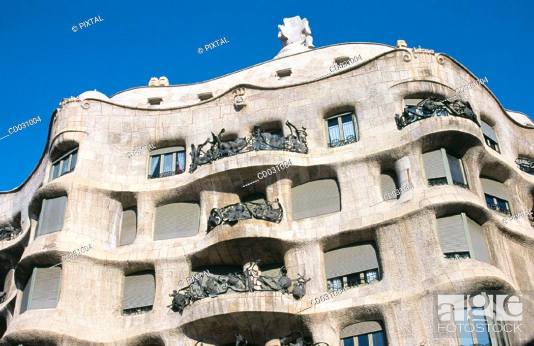 Stock Photo: Facade of Milà House, aka 'La Pedrera' (Gaudí, 1906-1912). Barcelona. Spain.