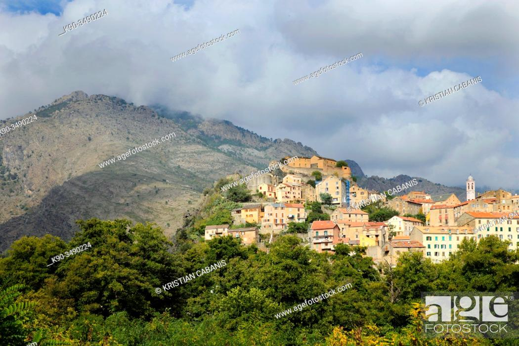 Stock Photo: City of Corte with the fortress during sunny weather, Corsica, France, Europe.