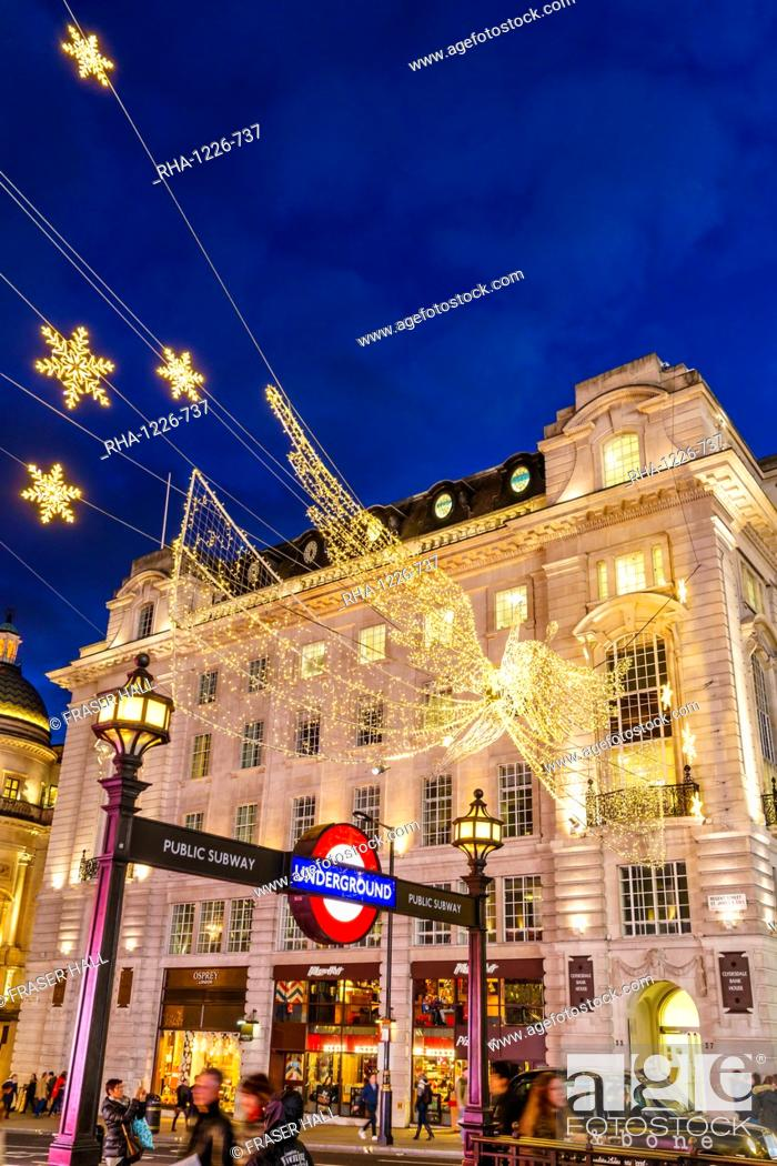 United Kingdom Christmas.Christmas Decorations At Piccadilly Circus London England