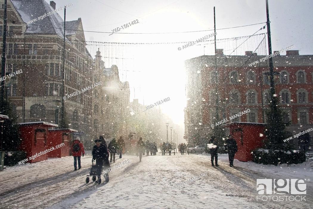 Stock Photo: Snow storm , Malmo, Sweden.