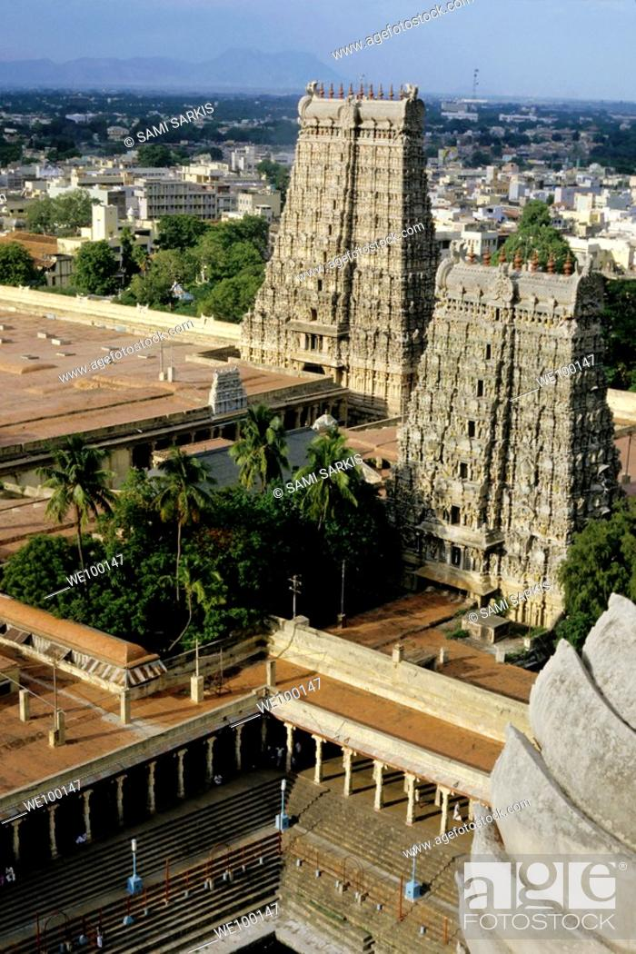 Stock Photo: Meenakshi Amman Temple and cityscape of Madurai, Tamil Nadu, India.