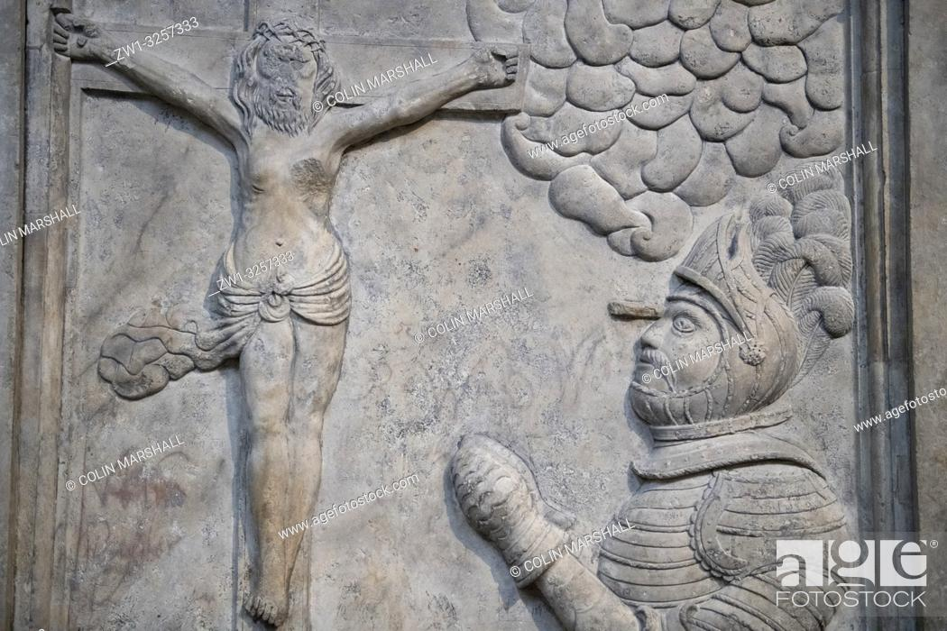 Stock Photo: Relief of king praying to crucified Jesus Christ, St Vitus Cathedral, Prague Castle, Prague, Czech Republic.