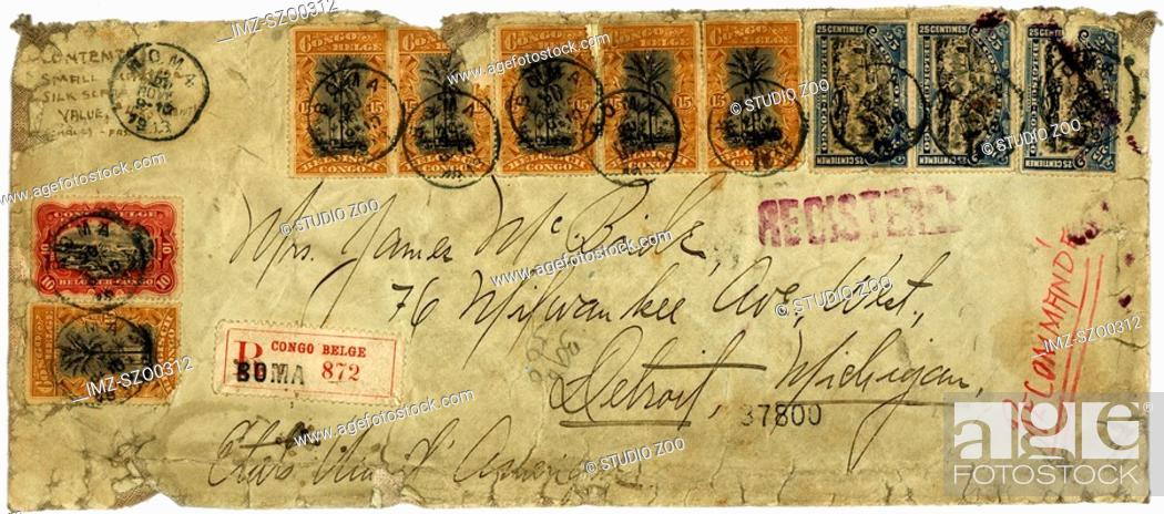 Stock Photo: Vintage postcard with script writing, registered in Congo Belge.