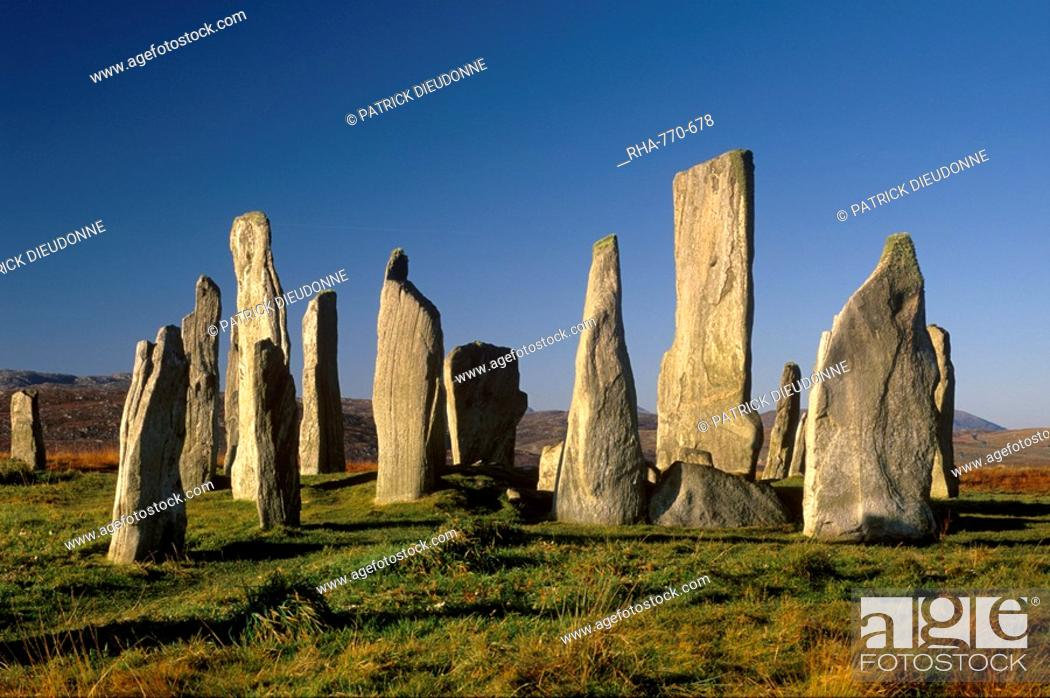 Stock Photo: Callanish Callanais Standing Stones, erected by Neolithic people between 3000 and 1500 BC, Isle of Lewis, Outer Hebrides, Scotland, United Kingdom, Europe.