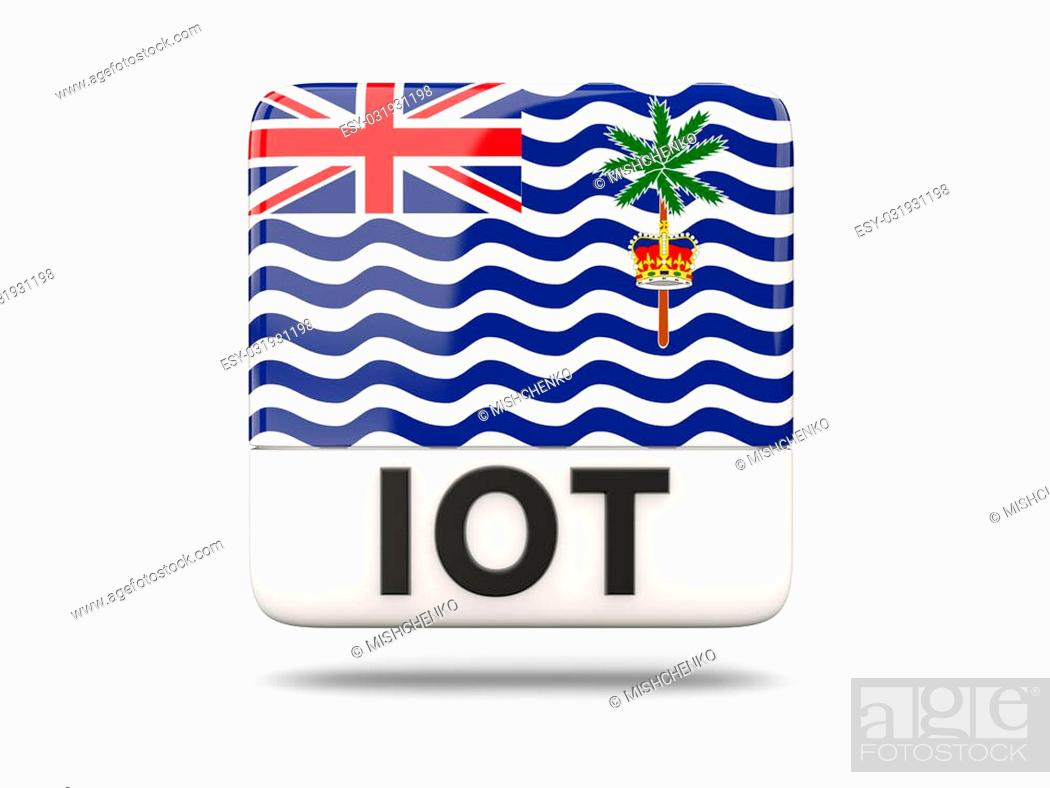 Stock Photo: Square icon with flag of british indian ocean territory and ISO code.