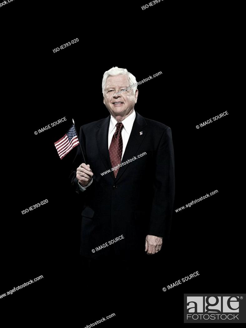 Stock Photo: Politician with american flag.