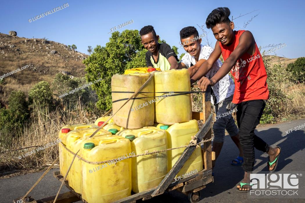 Stock Photo: Water Distribution in Containers, Morondava, Madagascar.