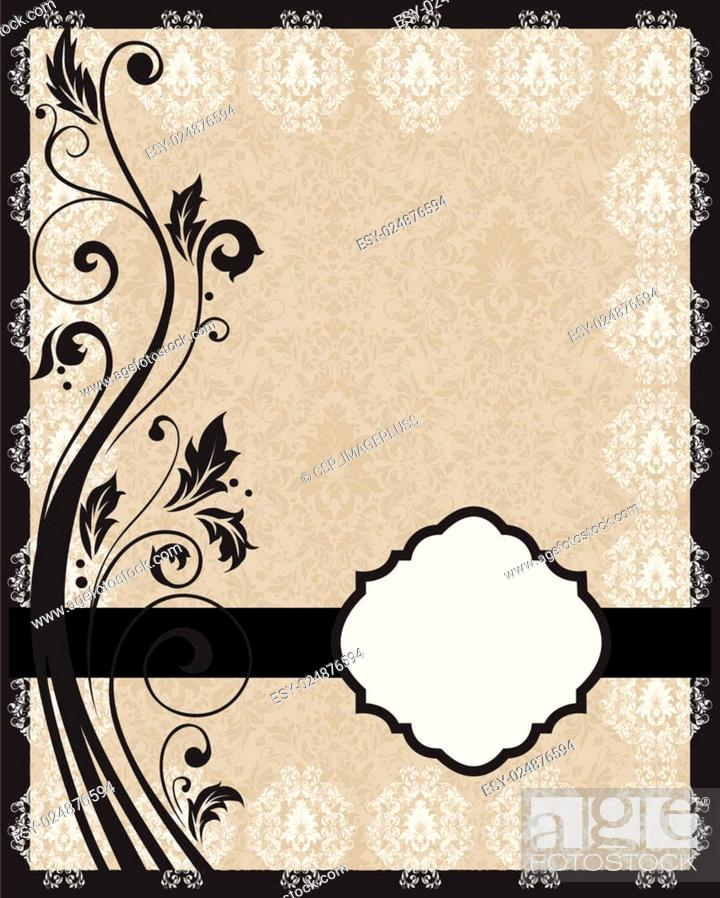 Vector: invitation with floral frame.