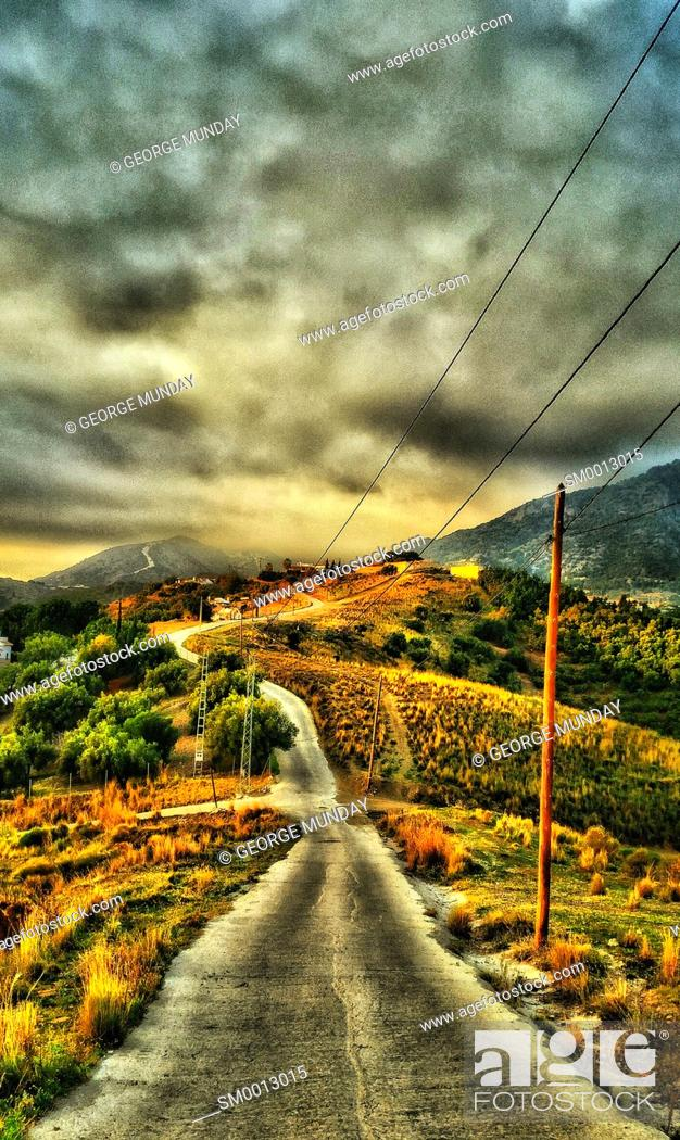 Stock Photo: The Road to the Mountains near Nerja,. Costa del Sol,. Malaga Province, Andalucia, Spain.