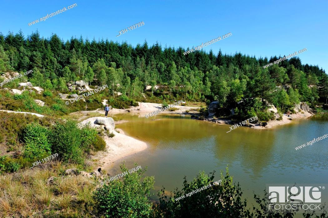 Stock Photo: ancient kaolin quarry on the commune of Echassieres, Allier department, Auvergne region, France, Europe.