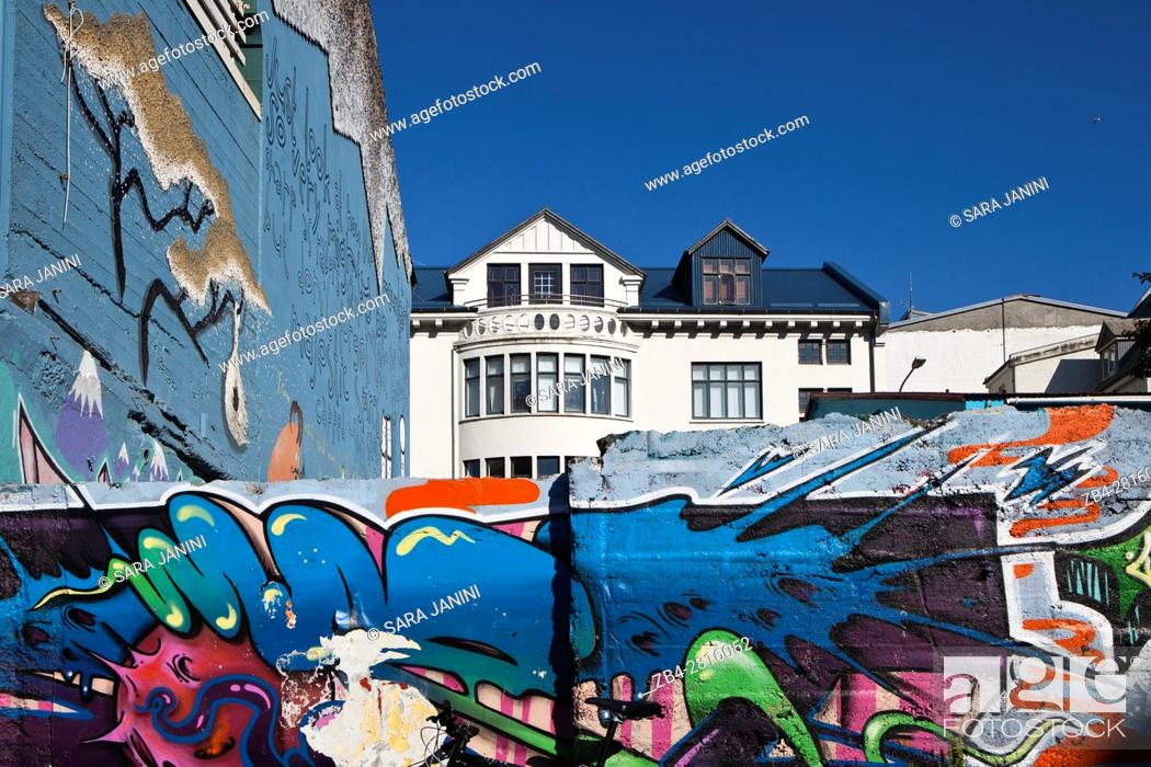 Stock Photo: Graffities near Laugavegur Street, Reykjavik, Iceland.