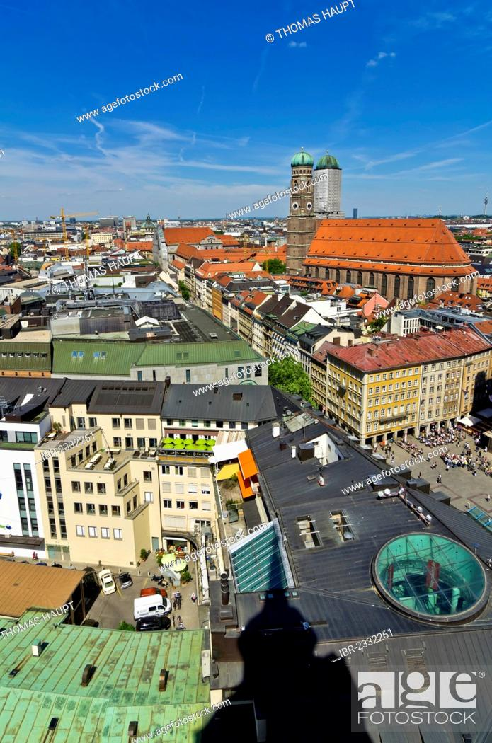 Stock Photo: View from St. Peter's Church, Alter Peter, over the roofs of Munich with Frauenkirche, Church of Our Lady, right, Munich, Upper Bavaria, Bavaria, Germany.