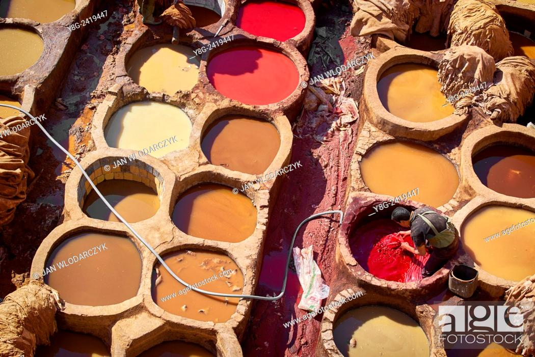Stock Photo: Traditional leather Chouwara Tannery, Fez, Morocco, Africa.