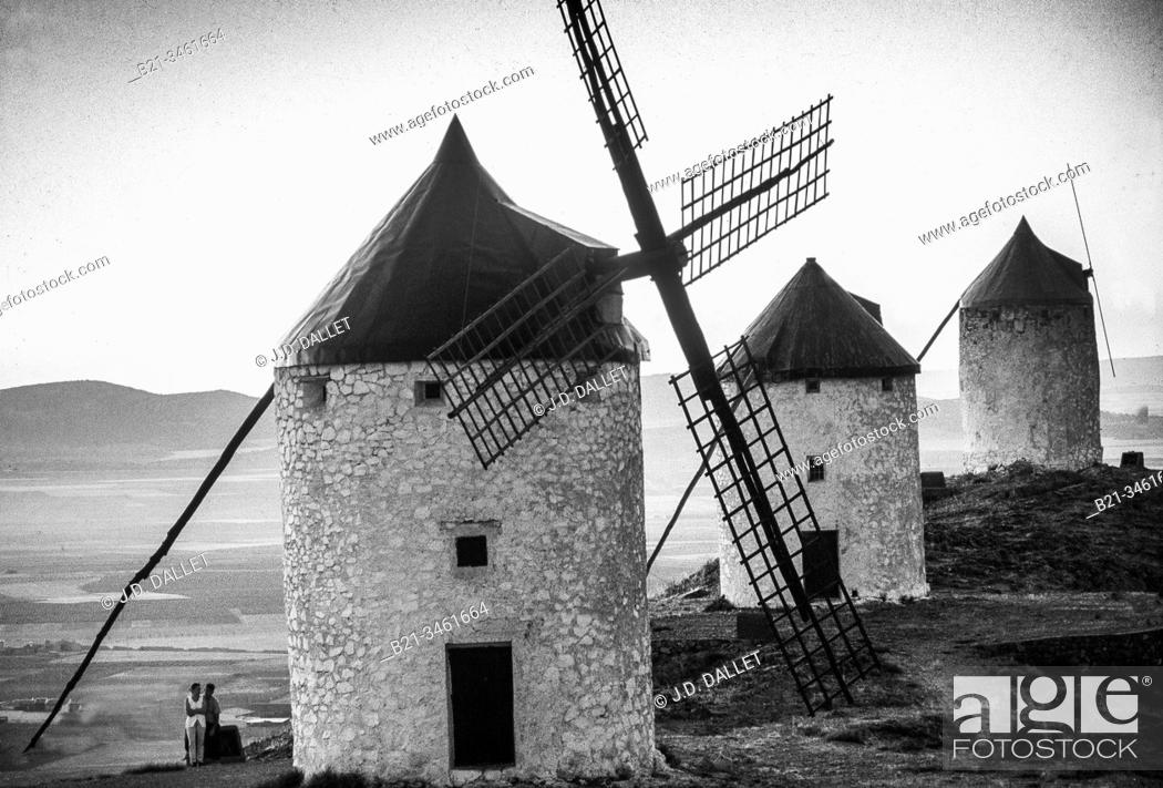 Stock Photo: Spain, Castilla La Mancha, Ciudad Real, windmills at Consuegra.