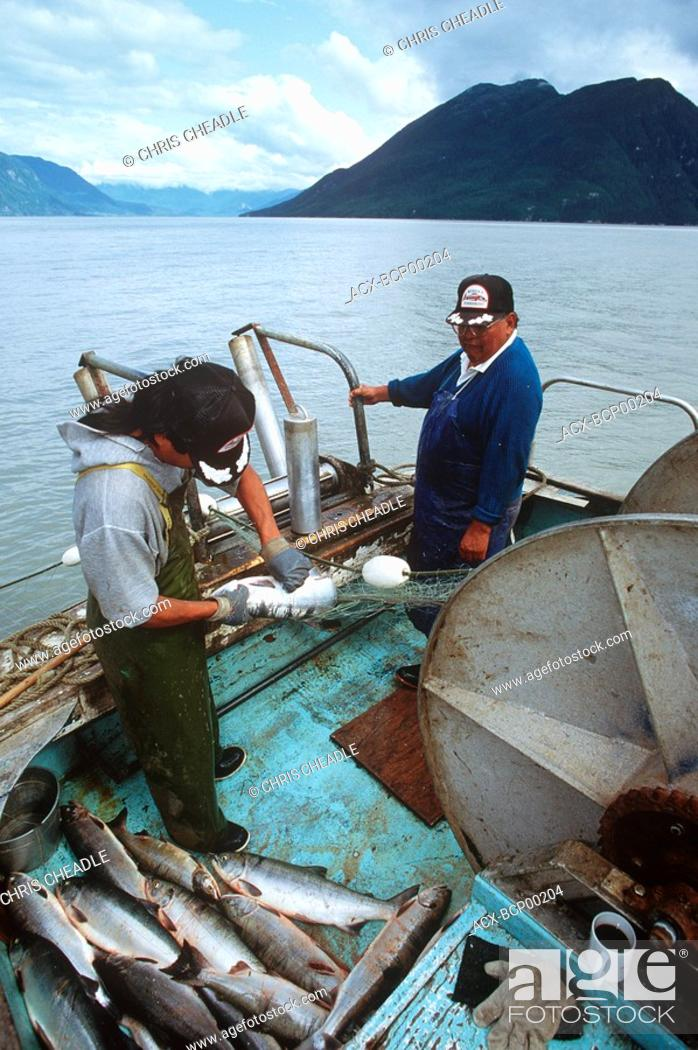 Stock Photo: Nisga'a gill netboat and crew, research test fishery, British Columbia, Canada.