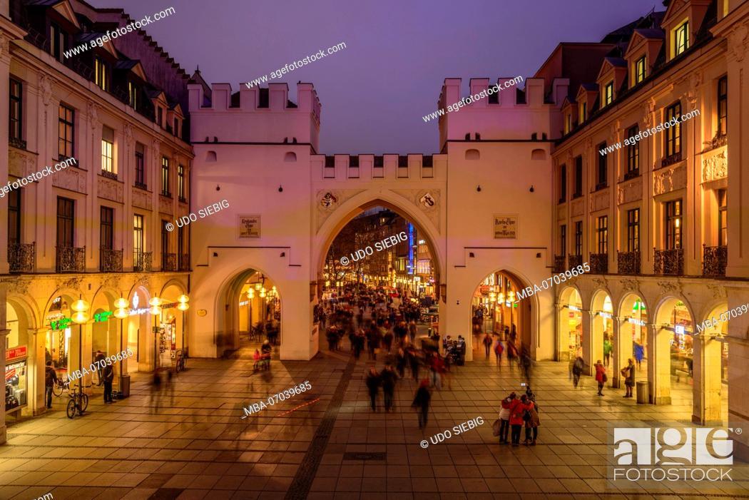 Stock Photo: Germany, Bavaria, Upper Bavaria, Munich, Karlsplatz (square), Stachus, Karlstor.