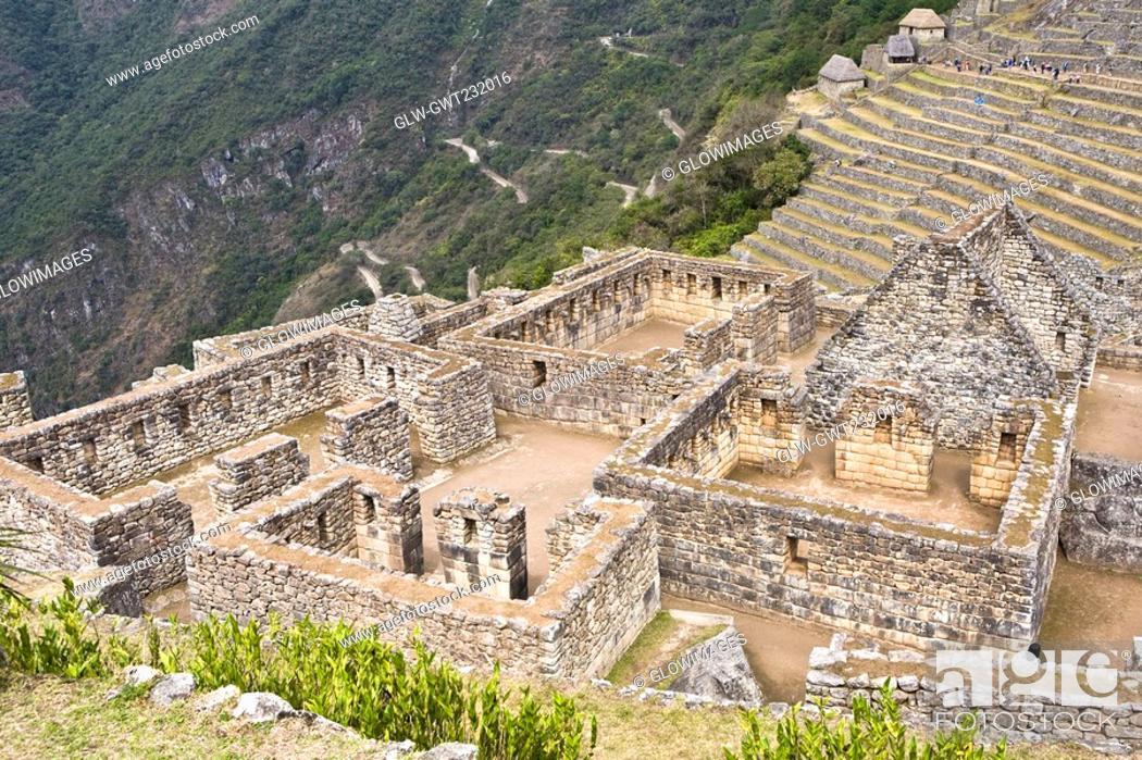 Stock Photo: High angle view of ruins on mountains, Machu Picchu, Cusco Region, Peru.