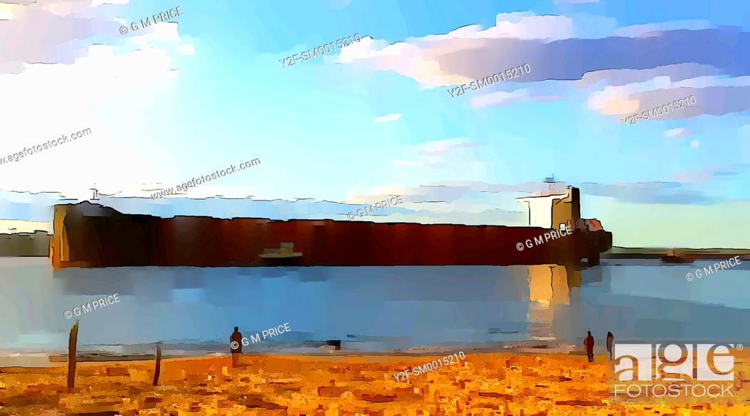 Stock Photo: watercolour filter view of people standing on beach watching freighter entering harbour in Newcastle, Australia.