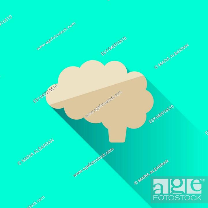 Stock Vector: Brain icon with shade on blue background.