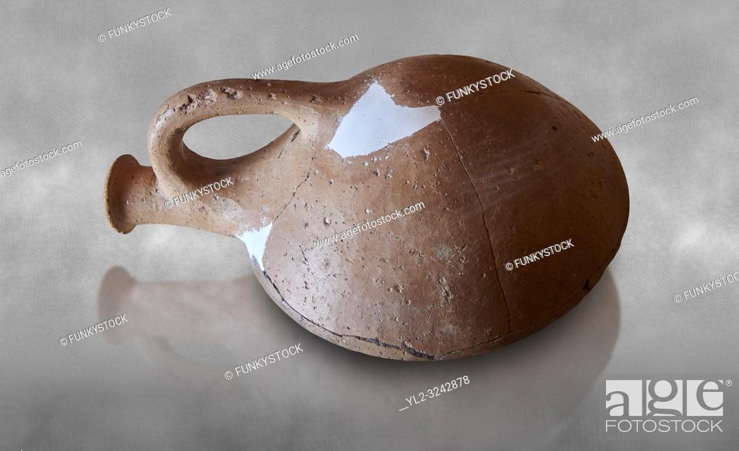 Stock Photo: Hittite terra cotta cult pilgrim flask. Hittite Period 1650 - 1450 BC, Ortakoy Sapinuvwa . Çorum Archaeological Museum, Corum, Turkey.