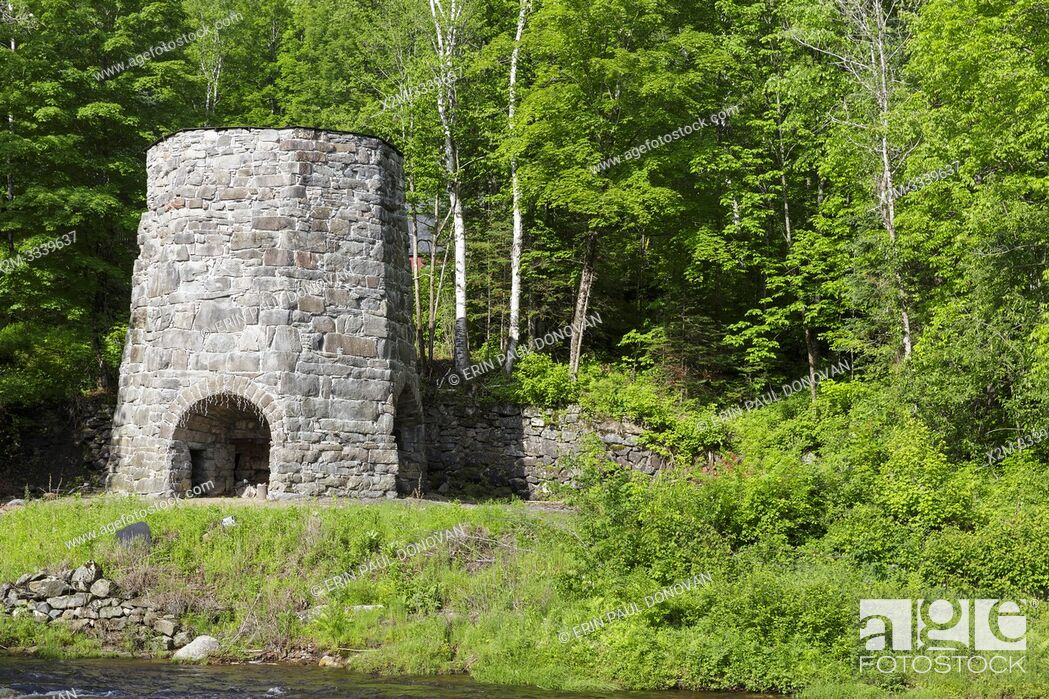 Stock Photo: Stone Iron Furnace in Franconia, New Hampshire USA.